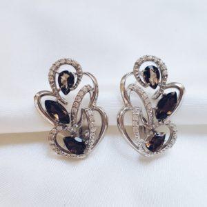 С 906 — Серебряные серьги с раух топазами и фианитами