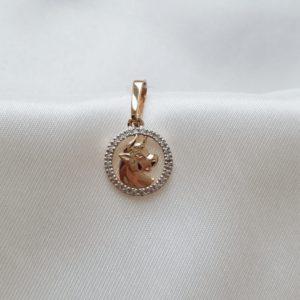 10649-078 — Подвеска с цирконами знак зодиака ТЕЛЕЦ